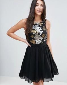 Короткое приталенное платье с пайетками Little Mistress - Мульти