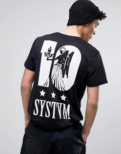 Футболка с принтом ангела на спине Systvm 10 - Черный