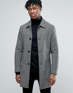 Шерстяное пальто в ломаную клетку Harry Brown - Черный