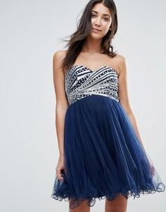 Выпускное платье‑бандо с пайетками Little Mistress - Темно-синий
