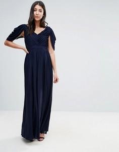 Платье макси с широкими рукавами Little Mistress - Темно-синий