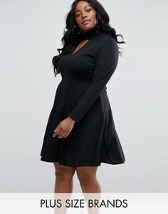 Короткое приталенное платье с чокером Club L Plus - Черный