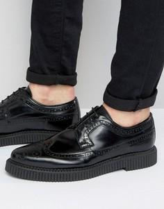 Черные кожаные броги с толстой подошвой ASOS - Черный