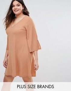 Цельнокройное платье с рукавами клеш Pink Clove - Розовый