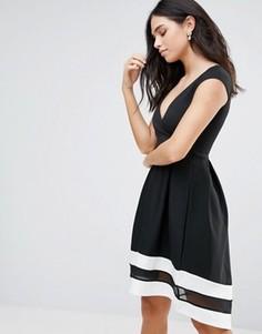 Короткое приталенное платье с короткими рукавами и контрастной отделкой Jessica Wright - Черный