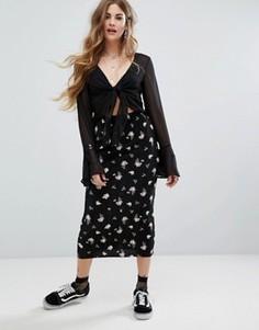 Плиссированная юбка миди с цветочным принтом Nobodys Child - Черный