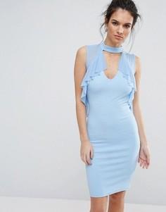 Платье миди с глубоким вырезом и оборками TFNC - Синий