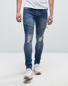 Выбеленные супероблегающие эластичные джинсы Loyalty and Faith Arundel - Синий