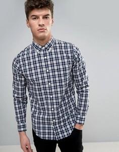 Поплиновая облегающая рубашка в клетку Abercrombie & Fitch - Темно-синий