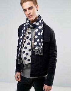 Темно-синий шарф в крупный горошек PS By Paul Smith - Темно-синий