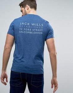 Насыщенно-синяя футболка с логотипом на спине Jack Wills Westmore - Синий