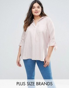 Рубашка с бантиками на рукавах New Look Plus - Розовый