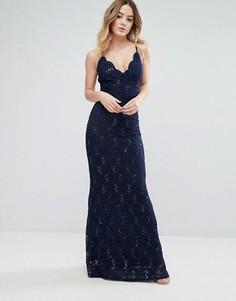 Кружевное платье макси на бретелях Jessica Wright - Синий