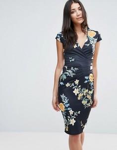Платье-футляр с V‑образным вырезом и цветочным принтом Jessica Wright - Мульти
