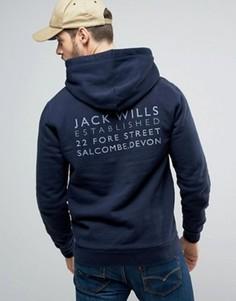Худи темно-синего цвета с принтом на спине Jack Wills Batsford - Темно-синий