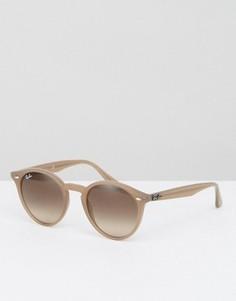 Серо-коричневые солнцезащитные очки в круглой оправе Ray Ban - Бежевый