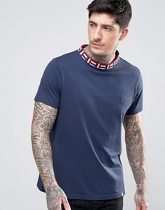 Темно-синяя футболка с жаккардовой отделкой Pretty Green Plecteom - Темно-синий