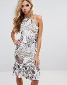 Платье с тропическим принтом и оборками по краю Boohoo - Мульти