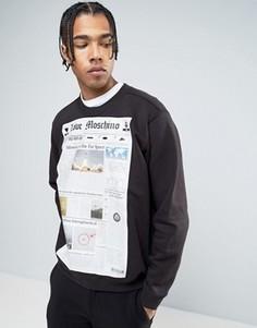 Свитшот с газетным принтом Love Moschino - Черный