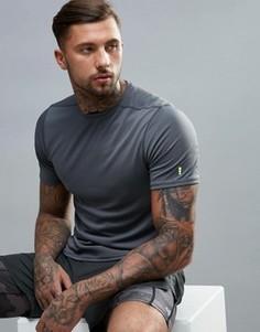 Серая спортивная футболка с сетчатой отделкой New Look - Серый