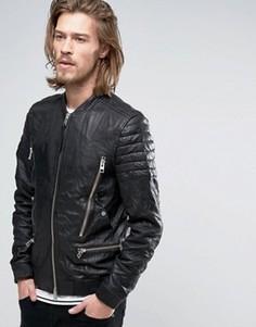 Кожаная куртка с карманами на молниях AllSaints - Черный