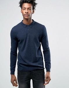 Поло с длинными рукавами и добавлением мериносовой шерсти Minimum Jaylen - Темно-синий