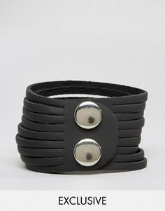 Черный кожаный браслет Reclaimed Vintage - Черный