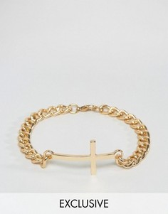 Золотистый браслет-цепочка с крестом Reclaimed Vintage - Золотой