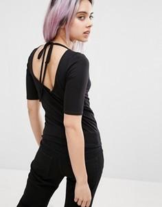 Топ с рукавами до локтя и завязкой на спине New Look - Черный