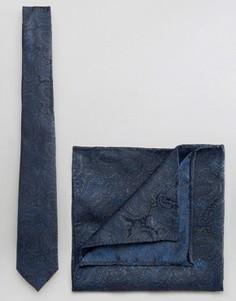 Галстук и платок для нагрудного кармана с принтом пейсли Burton Menswear - Темно-синий
