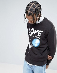 Меланжевый свитшот с логотипом Love Moschino - Черный