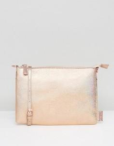 Розовая голографическая плоская сумка через плечо LAMODA - Золотой