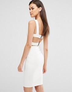 Облегающее платье миди с отделкой лямками Lavish Alice - Белый