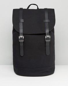 Рюкзак из парусины с отделкой из искусственной кожи ASOS - Черный