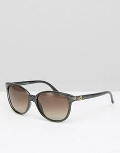 Солнцезащитные очки в круглой оправе с блестками Gucci - Черный