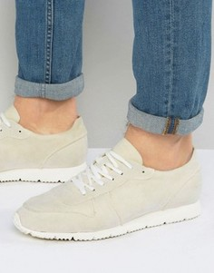 ASOS Retro Trainers In Relaxed Off White Faux Suede - Белый