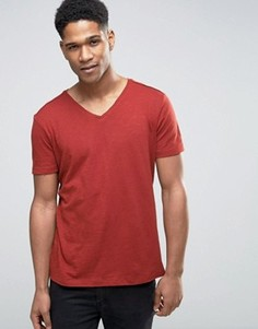 Меланжевая футболка с V-образным вырезом Sisley - Оранжевый