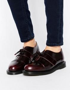 Кожаные туфли на плоской подошве с узелками Dr Martens Eliza - Красный