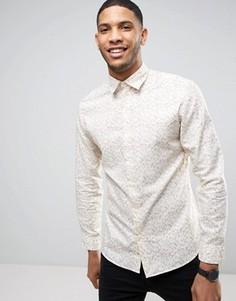 Приталенная оксфордская рубашка с принтом Selected Homme - Кремовый