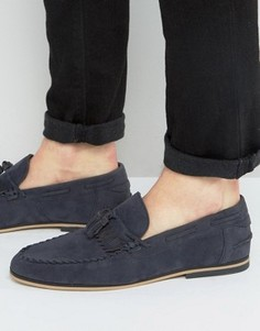 ASOS Tassel Loafers In Navy Faux Suede With Fringe - Темно-синий