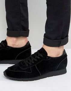 ASOS Retro Trainers In Relaxed Black Faux Suede - Черный
