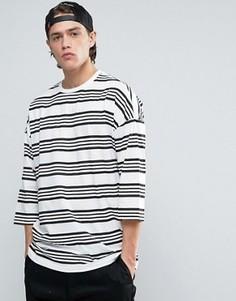 Oversize-футболка в полоску с рукавами 3/4 ASOS - Белый
