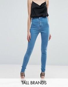 Зауженные суперэластичные джинсы с завышенной талией Missguided Tall Vice - Синий