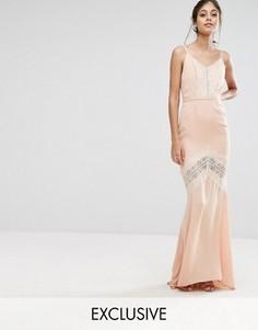 Платье макси с открытой спиной и кружевной отделкой Hope & Ivy - Оранжевый