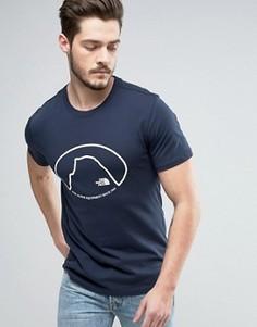 Темно-синяя футболка с принтом The North Face - Темно-синий