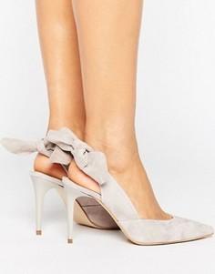 Carvela Ava Grey Suede Bow Sling Heeled Shoes - Серый