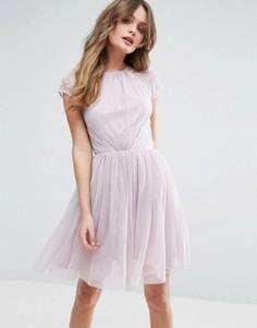 Платье мини для выпускного из кружева и тюля ASOS PREMIUM - Фиолетовый