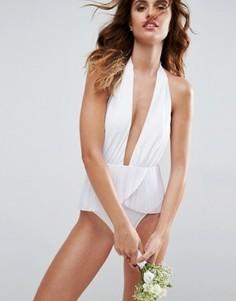 Слитный купальник с плиссированной юбочкой ASOS BRIDAL - Белый