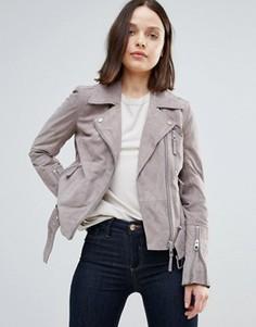 Замшевая байкерская куртка Urbancode - Серый
