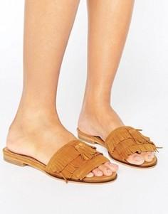 Замшевые сандалии на плоской подошве с бахромой Dune Lassi - Рыжий